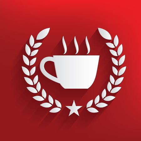 sip: S�mbolo de caf� sobre fondo rojo, vector limpio Vectores