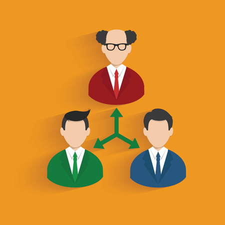 tree linked: Flow chart, businessman symbol on orange background,clean vector Illustration