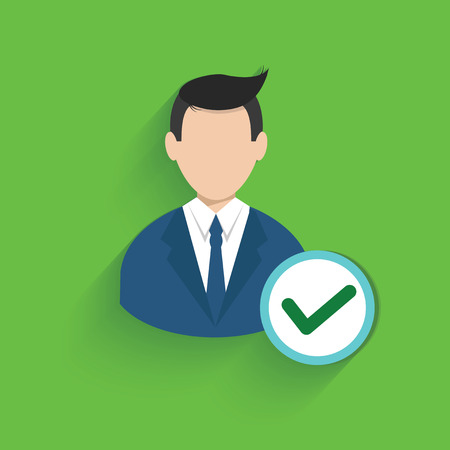 Check mark,businessman symbol on green background,clean vector Vector