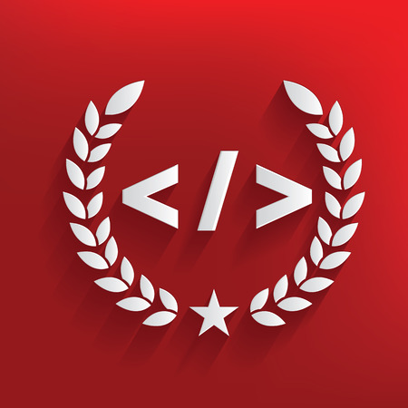 stylesheet: Coding concept on red background,clean vector