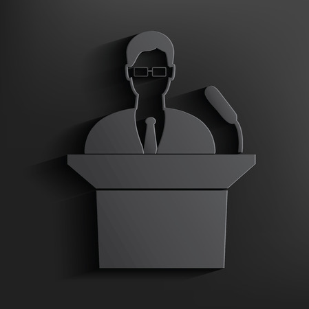 Announcer symbol on black background,clean vector Vector