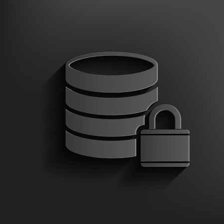 cylinder lock: Lock,Database symbol on dark background,clean vector