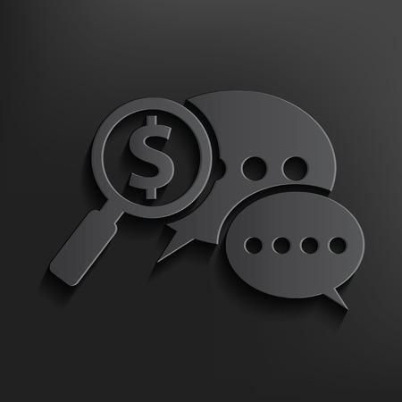 Dollar speech symbol on dark background,clean vector Vector