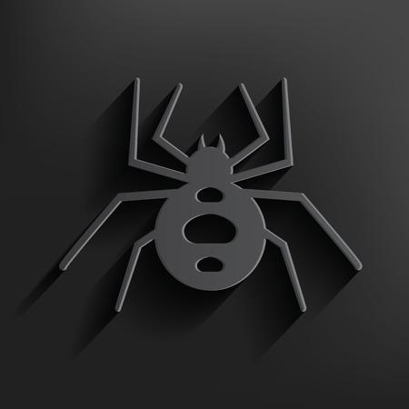 Spider symbol on black background,clean vector Illustration