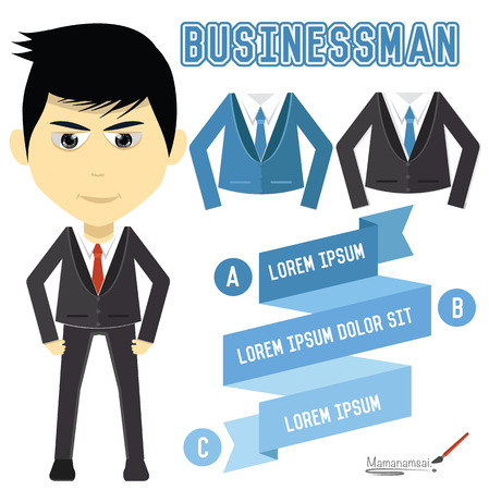 Businessman character design on white background,clean vector Vector