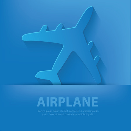 Airplane symbol on blue background,clean vector Vector