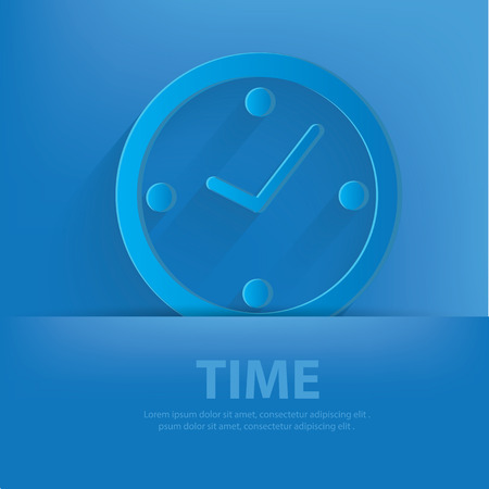 Clock symbol on blue background,clean vector Vector
