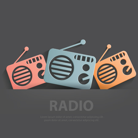 portable radio: Radio symbol,Blank for your text,clean vector Illustration