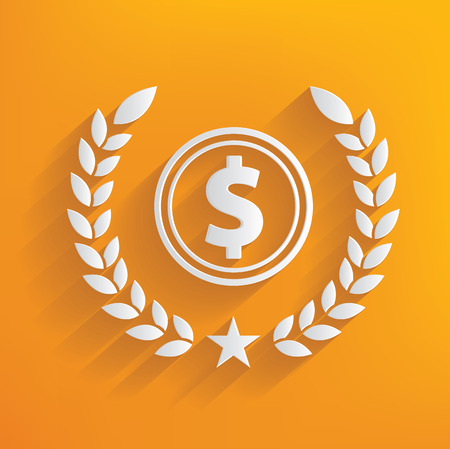 fiscal: Dollar concept on yellow background,clean vector