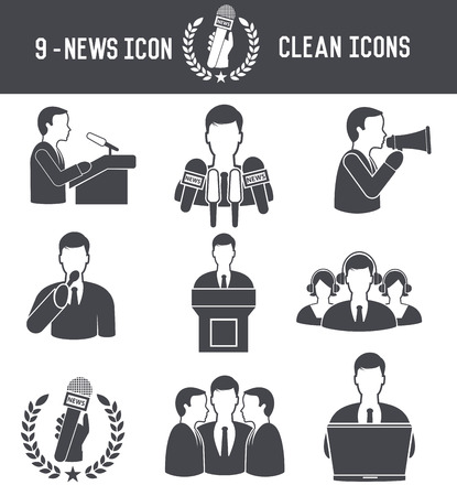 News,Human resource icons on white background,clean vector Vector