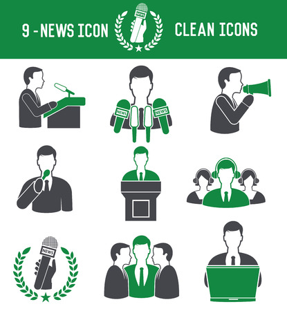 9 News icons on white background Vector