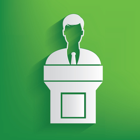 announcer: Announcer man design on green background,clean vector