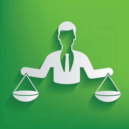 justice scale: Justice scale businessman design