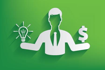 Lightbulb or money businessman design