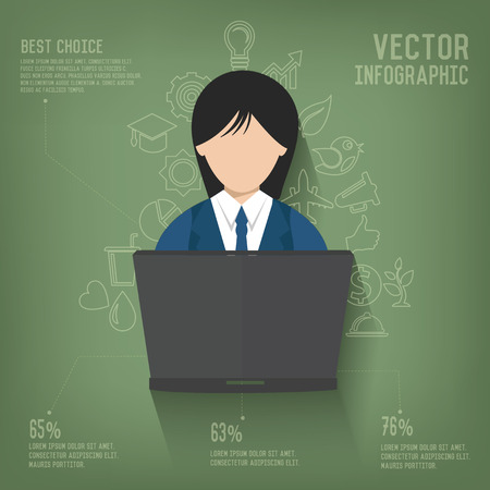 cybercafe: Woman,Business on blackboard background,vector