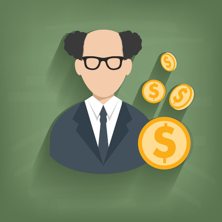 pecuniary: Make money,Businessman on blackboard background,vector