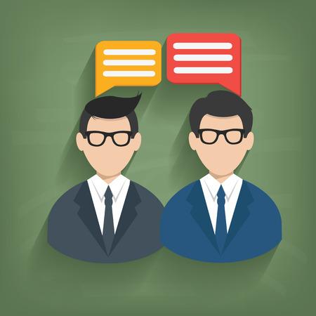 Chat,Businessman on blackboard background,vector Vector