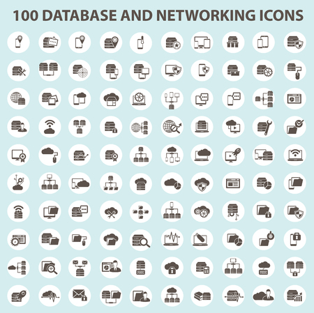 set: 100 Database and network design,clean vector