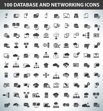 100 データベース、データ サーバーおよびネットワー キングのアイコン、ブラック シリーズ、きれいなベクトル