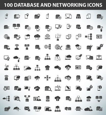 hub computer: 100 Database,Data Server and Networking icons,Black series,clean vector