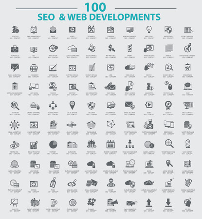 100 Icons,Set of SEO and Development icons,Clean vector Illustration