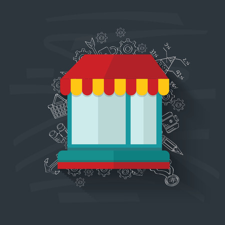Shop on blackboard background,vector Vector