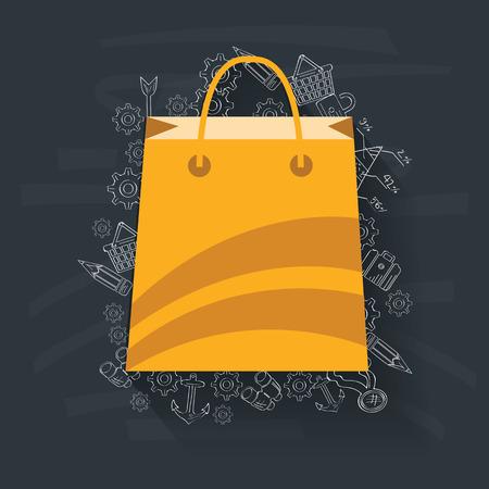 Shopping on blackboard background,vector Vector