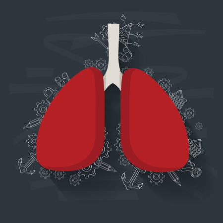respiratory protection: Lung concept on blackboard background,clean vector