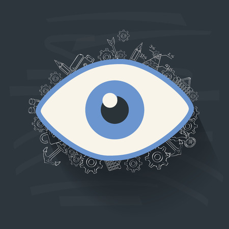 Eye concept on blackboard background,clean vector