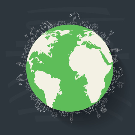 Global concept on blackboard background,clean vector Vector