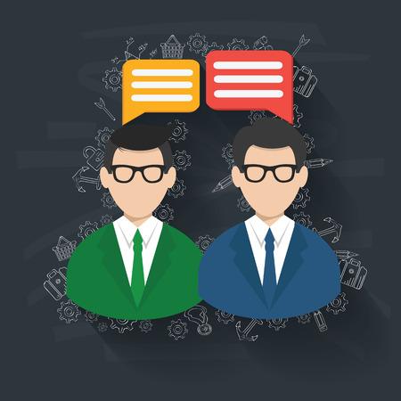 participate: Talking,Business on blackboard background,vector Illustration