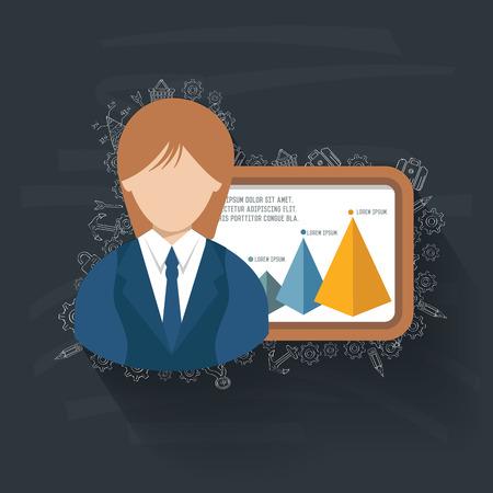 financial advisors: Woman Business on blackboard background,vector
