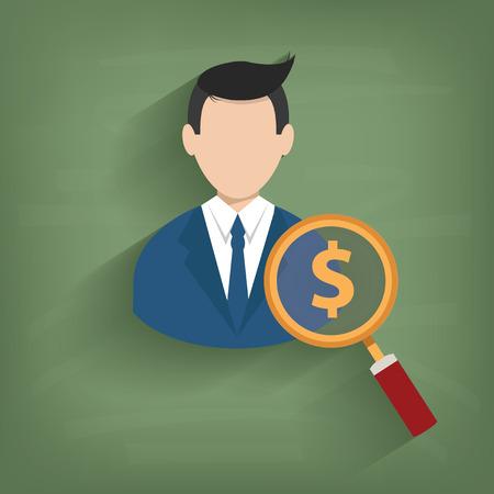 accepting: Money,Businessman on blackboard background,vector Illustration
