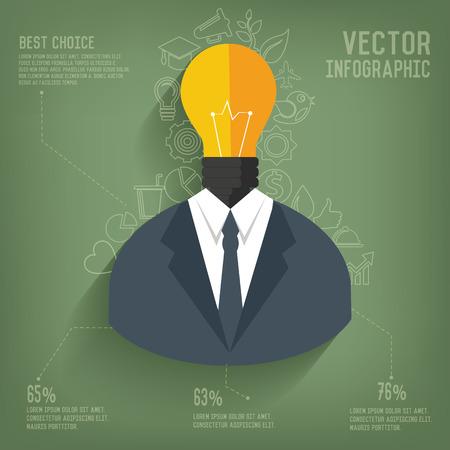 Light bulb,Businessman on blackboard background,vector