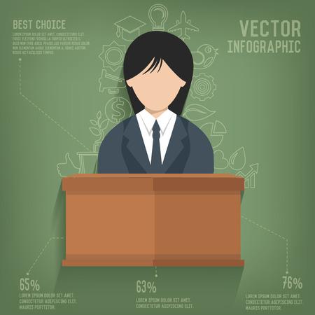 Woman,Business on blackboard background,vector Vector