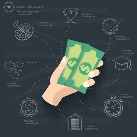 chequebook: Spend money concept on blackboard background,vector