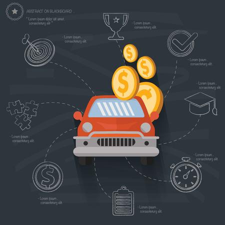 Auto loan concept on blackboard background,vector Illustration
