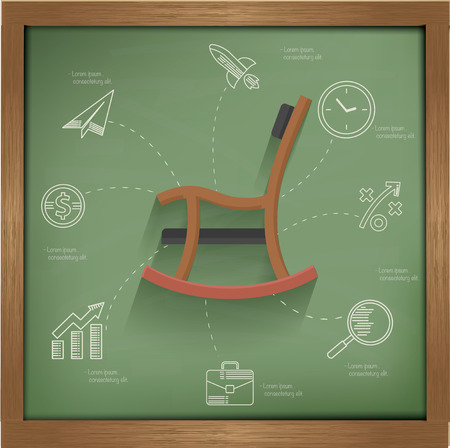 happy retirement: Retire concept on blackboard background,vector