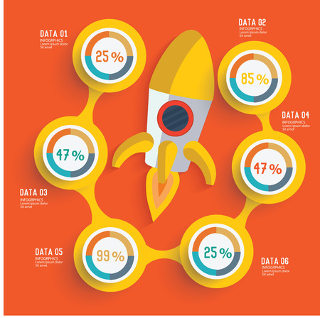 Rocket concept and banner for your text editable,clean vector Vector