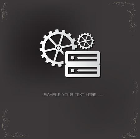 sql: Database management symbol on dark background,vector Illustration