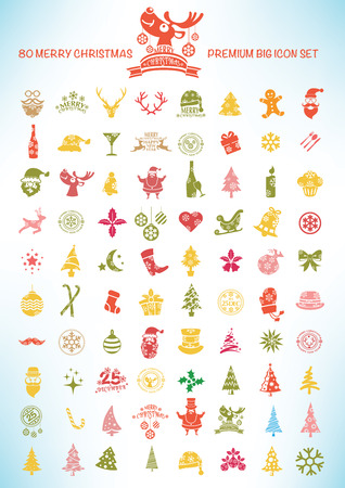 Big Set of Modern Christmas. Holiday Xmas Design.Clean Vector Vector