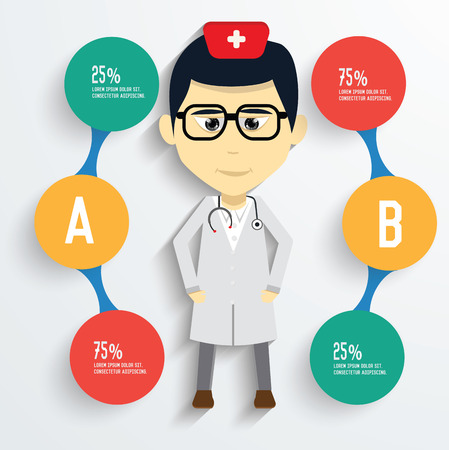 physiotherapist: Medical concept and button for your text editable,clean vector