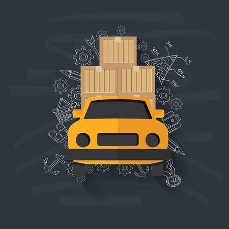 Logistic on blackboard background,vector Vector