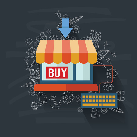 Online shopping on blackboard background,vector Vector