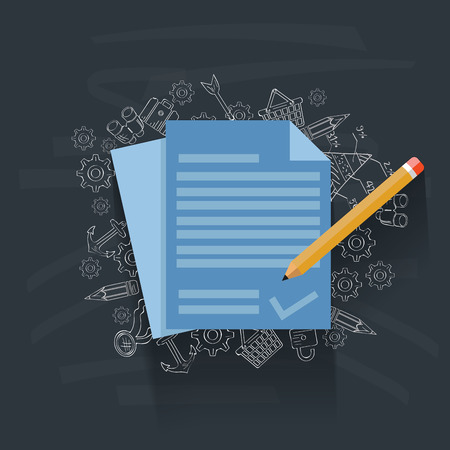 contract documents: Contract on blackboard background,vector