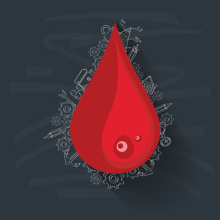 Blood concept on blackboard background,clean vector Vector