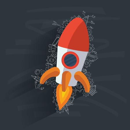 Rocket concept on blackboard background,clean vector Vector