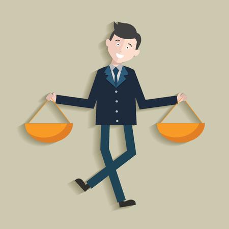 predicament: Justice law,Human resource,Businessma n design,clean vector