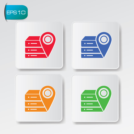 Database icons on buttons,clean vector
