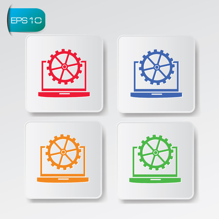 Laptop icons on buttons,clean  Vector